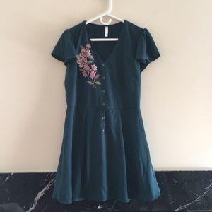 Dark Teal Embroidered Dress